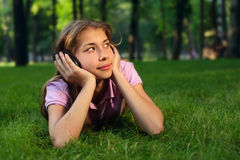 Happy girl with headphones Stock Image