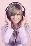 Happy girl with headphones Royalty Free Stock Image