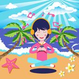 Happy Girl with headphones listening to the music in seaside bea. Ch. Vector illustration flat cartoon pretty woman Royalty Free Stock Images