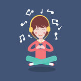 Happy Girl with headphones listening to the music. Vector illustration flat cartoon pretty woman Royalty Free Stock Photography