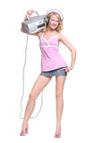 Happy girl with headphones and music boombox Stock Photo