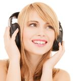 Happy girl with headphones Royalty Free Stock Photography