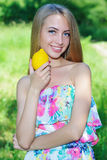 Happy girl and healthy vegetarian food, fruit Royalty Free Stock Photography