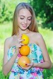 Happy girl and healthy vegetarian food, fruit Stock Photo