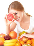 Happy girl and healthy vegetarian food, fruit Stock Photos