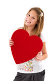 Happy girl with heart on Mother's Day - isolated on white Stock Photo