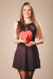 Happy girl with hearts Royalty Free Stock Images