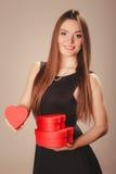 Happy girl with hearts Stock Photos