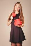 Happy girl with hearts Royalty Free Stock Photos