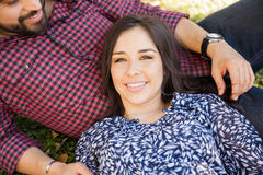 Happy girl with her boyfriend Royalty Free Stock Photos