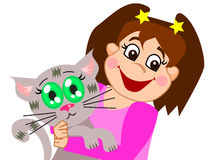Happy Girl with her Cat. A girl playing with her kitten stock illustration