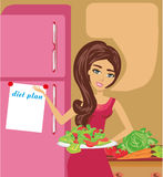 Happy girl and her diet plan. Vector Illustration Royalty Free Stock Images
