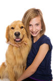 Happy girl with her dog Royalty Free Stock Photo