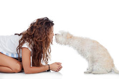 Happy girl with her dog  Stock Image