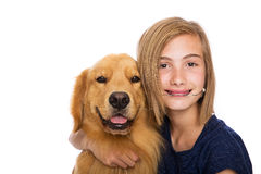Happy girl with her dog Stock Photo