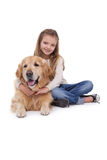 Happy girl with her pet dog Royalty Free Stock Image