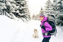 Happy girl hiking in winter forest with dog royalty free stock images