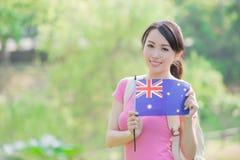 Happy girl hold australian flag Royalty Free Stock Images