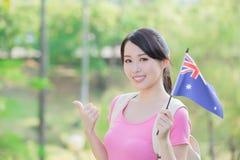Happy girl hold australian flag Stock Images