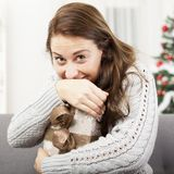 Happy girl hold her christmas gift Royalty Free Stock Image
