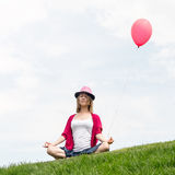 Happy girl holding air balloon Royalty Free Stock Image