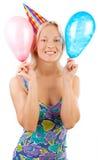 Happy girl holding balloons Stock Photos