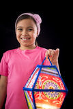 Happy Girl Holding Big Ramadan Lantern Royalty Free Stock Images