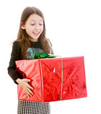 Happy girl holding a big red front beautifully Stock Photo