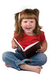 Happy girl holding book Stock Photos