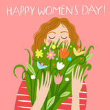 Happy girl holding a boquet of flowers. Happy girl holding a bouquet of flowers. Happy woman`s day title. Spring holiday illustration for your design vector illustration