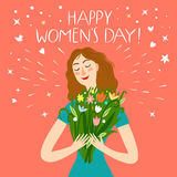 Happy girl holding a boquet of flowers. Happy girl holding a bouquet of flowers. Happy woman`s day title. Spring holiday illustration for your design Stock Image