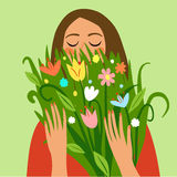 Happy girl holding a bouquet of flowers. Love and beauty illustration for your design Royalty Free Stock Image