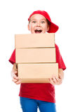 Happy girl holding cardboard boxes Royalty Free Stock Photo