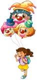 A happy girl holding clown balloons Stock Photos