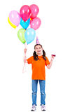Happy girl holding colorful balloons. Stock Image
