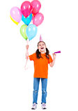Happy girl holding colorful balloons. Stock Photography