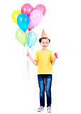 Happy girl holding colorful balloons. Royalty Free Stock Images