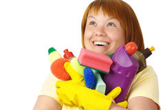 Happy girl holding dish washing liquids Stock Photo