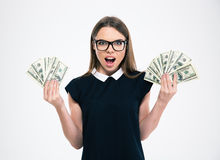 Happy girl holding dollar bills Stock Photo
