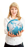 Happy girl holding earth sphere Royalty Free Stock Images