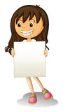 A happy girl holding an empty signage Royalty Free Stock Photos