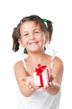 Happy girl holding a gift Stock Photography