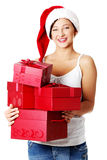 Happy girl holding a gift Stock Photos