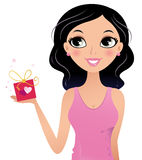 Happy Girl holding gift box Royalty Free Stock Photo
