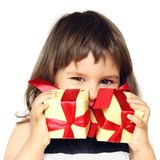Happy Girl Holding Gifts in Hands Royalty Free Stock Photos