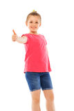 Happy girl holding had with thumb up Royalty Free Stock Photo