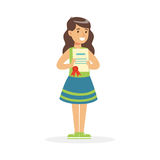 Happy girl holding her excellent report card cartoon vector Illustration. On a white background royalty free illustration