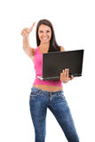 Happy girl holding laptop. Happy successful girl holding laptop, isolated on white Royalty Free Stock Photos