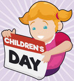 Happy Girl Holding a Loose-leaf Calendar For Children`s Day, Vector Illustration Stock Images