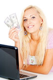 Happy girl earned money Stock Image